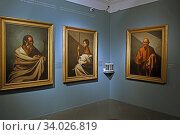 Купить «Exhibition 'The time of Caravaggio. Masterpieces from Roberto Longhi collection', artworks by Jusepe de Ribera in Caffarelli Palace, Capitolini Museums ,Rome, ITALY-16-06-2020.», фото № 34026819, снято 16 июня 2020 г. (c) age Fotostock / Фотобанк Лори
