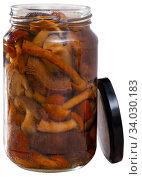 Assorted marinated mushrooms in glass jar. Стоковое фото, фотограф Яков Филимонов / Фотобанк Лори