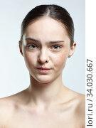 Купить «Headshot of emotional female face portrait with angry facial expression.», фото № 34030667, снято 8 мая 2020 г. (c) Serg Zastavkin / Фотобанк Лори