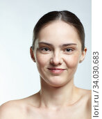 Купить «Headshot of emotional female face portrait with mocking facial expression.», фото № 34030683, снято 8 мая 2020 г. (c) Serg Zastavkin / Фотобанк Лори