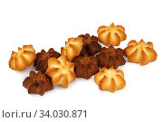 Купить «shortbread cookies isolated on white background», фото № 34030871, снято 4 февраля 2016 г. (c) Nataliia Zhekova / Фотобанк Лори