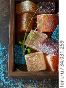 Купить «Homemade multicolored marmalade candy in sugar on dark background. Fruit jelly candies. Fruit chewy candy. Jelly Bean. Assortment of colorful fruit jelly candy. Copy space», фото № 34031259, снято 11 декабря 2019 г. (c) Nataliia Zhekova / Фотобанк Лори