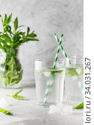 Купить «glasses of cold water with fresh mint leaves and ice cubes on grey concrete background», фото № 34031267, снято 4 июня 2019 г. (c) Nataliia Zhekova / Фотобанк Лори