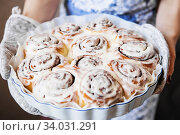 Купить «Cinabon rolls with cream cheese on the baking form in the women's hands», фото № 34031291, снято 13 марта 2019 г. (c) Nataliia Zhekova / Фотобанк Лори