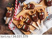 chocolate popsicle on a stick. Стоковое фото, фотограф Nataliia Zhekova / Фотобанк Лори