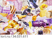 Handmade contemporary collage made of magazines and colorful paper. Стоковое фото, фотограф Nataliia Zhekova / Фотобанк Лори