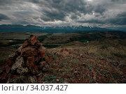 Summer in Kurai steppe and North-Chui ridge of Altai mountains, Russia. Cloud day. Стоковое фото, фотограф Zoonar.com/Ruslan Olinchuk / easy Fotostock / Фотобанк Лори