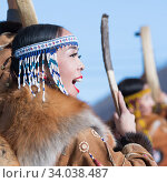 Купить «Female dancing with tambourine in tradition clothing aboriginal people of Kamchatka. Concert celebration Koryak national ritual holiday Hololo - Day of Seal», фото № 34038487, снято 4 ноября 2018 г. (c) А. А. Пирагис / Фотобанк Лори