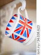 british union jack mugs. cups with british flag print. Union Jack British Flag cups. Стоковое фото, фотограф Nataliia Zhekova / Фотобанк Лори