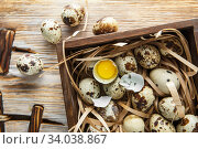 Купить «Quail eggs. Flat lay composition with small quail eggs in the wooden box on the natural wooden background. Two broken eggs with a bright yolk.», фото № 34038867, снято 15 апреля 2019 г. (c) Nataliia Zhekova / Фотобанк Лори