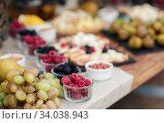Wedding catering outdoor close up. food on buffet on wedding celebration. Стоковое фото, фотограф Юрий Голяк / Фотобанк Лори