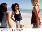Купить «Multi-ethnic group of female standing on the beach», фото № 34039979, снято 25 февраля 2020 г. (c) Wavebreak Media / Фотобанк Лори