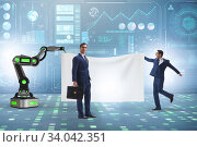 Купить «Business people and blank poster supported by robotic arms», фото № 34042351, снято 4 июля 2020 г. (c) Elnur / Фотобанк Лори