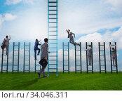 Купить «Competition concept with businessman beating competitors», фото № 34046311, снято 3 июля 2020 г. (c) Elnur / Фотобанк Лори