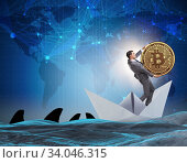 Купить «Businessman rowing on dollar boat in business financial concept», фото № 34046315, снято 4 июля 2020 г. (c) Elnur / Фотобанк Лори