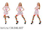 Купить «Young girl with colourful clothing on white», фото № 34046607, снято 25 октября 2013 г. (c) Elnur / Фотобанк Лори