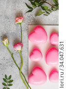 Купить «Pink Mousse dessert in the shape of hearts. Mousse cake for Valentine Day», фото № 34047631, снято 1 февраля 2020 г. (c) Nataliia Zhekova / Фотобанк Лори
