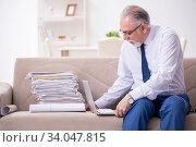Купить «Aged businessman employee working from house», фото № 34047815, снято 4 ноября 2019 г. (c) Elnur / Фотобанк Лори