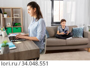 Купить «boy with gamepad playing video game at home», фото № 34048551, снято 10 апреля 2020 г. (c) Syda Productions / Фотобанк Лори