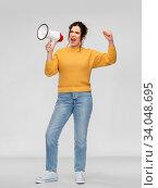 Купить «angry young woman speaking to megaphone», фото № 34048695, снято 20 марта 2020 г. (c) Syda Productions / Фотобанк Лори