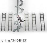 Купить «Career progression concept with ladders and staircase», фото № 34048931, снято 5 июля 2020 г. (c) Elnur / Фотобанк Лори