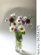 Bouquet of beautiful multicolored wildflowers in a glass vase on a light background. Стоковое фото, фотограф Яна Королёва / Фотобанк Лори