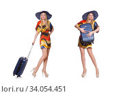 Woman ready for summer holiday isolated on white. Стоковое фото, фотограф Elnur / Фотобанк Лори