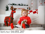 Beautiful Little girl waiting for a miracle in Christmas decorations. Стоковое фото, фотограф Nataliia Zhekova / Фотобанк Лори