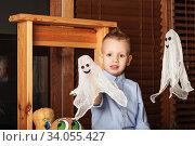 Купить «Cute Little Boy having fun in Halloween decorations», фото № 34055427, снято 22 октября 2015 г. (c) Nataliia Zhekova / Фотобанк Лори