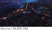 Купить «Night aerial view of modern Voronezh cityscape on banks of Voronezh river, Russia», видеоролик № 34055743, снято 27 мая 2019 г. (c) Яков Филимонов / Фотобанк Лори