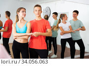Teenage boys and girls training slow foxtrot. Стоковое фото, фотограф Яков Филимонов / Фотобанк Лори