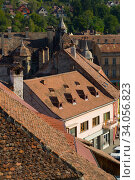 Купить «Aerial view from clock tower in Sighisoara, Romania», фото № 34056823, снято 16 сентября 2017 г. (c) Яков Филимонов / Фотобанк Лори