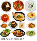 Купить «Set of various soups and broths», фото № 34056867, снято 10 июля 2020 г. (c) Яков Филимонов / Фотобанк Лори