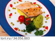 Купить «Roasted trout fillet with potato puree and guacamole», фото № 34056883, снято 6 июля 2020 г. (c) Яков Филимонов / Фотобанк Лори