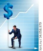 Купить «The businessman pumping dollar sign in business concept», фото № 34058979, снято 11 июля 2020 г. (c) easy Fotostock / Фотобанк Лори