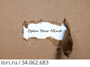 Купить «The word open your mind appearing behind torn paper», фото № 34062683, снято 7 июля 2020 г. (c) easy Fotostock / Фотобанк Лори