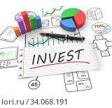 Купить «3D Illustration concept of investment, finance, banking, analyze data, financial planning, stock market, strategic management. Sketches business diagram chart graph.», фото № 34068191, снято 6 марта 2014 г. (c) easy Fotostock / Фотобанк Лори