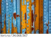 Купить «Weathered metal wall in yellow and blue color», фото № 34068567, снято 10 июля 2020 г. (c) easy Fotostock / Фотобанк Лори