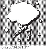 Купить «Retro empty speech bubble in form of cloud with lightning striking. Pop art. Vector illustration with stars and halftone dots. Mockup for comic book and manga. Template for your design», иллюстрация № 34071311 (c) Dmitry Domashenko / Фотобанк Лори