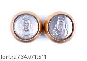 Купить «Aluminum cola can on white background, view from the top», фото № 34071511, снято 10 июля 2020 г. (c) age Fotostock / Фотобанк Лори