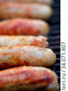Купить «Delicious german sausages on the barbecue grill», фото № 34071807, снято 6 августа 2020 г. (c) age Fotostock / Фотобанк Лори