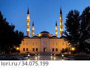 Купить «Ashkhabad mosque with minarets at night. Ashkhabad. Turkmenistan.», фото № 34075199, снято 13 июля 2020 г. (c) easy Fotostock / Фотобанк Лори