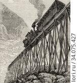 Recreation excursion railroad in the 19th century in United States. Old 19th century engraved illustration, El Mundo Ilustrado 1880. Стоковое фото, фотограф Jerónimo Alba / age Fotostock / Фотобанк Лори