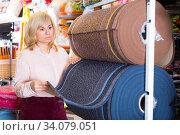 Smiling woman customer buying colorful carpeting. Стоковое фото, фотограф Яков Филимонов / Фотобанк Лори