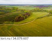 Купить «View of meadows and Fields of Central Russia on may gloomy day», фото № 34079607, снято 2 мая 2019 г. (c) Яков Филимонов / Фотобанк Лори