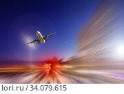 Купить «Airliner in motion in sky», фото № 34079615, снято 18 марта 2013 г. (c) Яков Филимонов / Фотобанк Лори