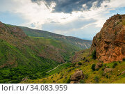 Panoramic view of the valley at the foot of Noravank Monastery in Armenia. Стоковое фото, фотограф Константин Лабунский / Фотобанк Лори