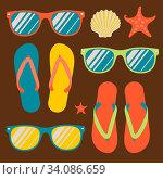 Купить «Pattern with flip flops and sunglasses, vector Eps10 image.», фото № 34086659, снято 3 июля 2020 г. (c) easy Fotostock / Фотобанк Лори