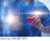 Купить «Young doctor cardiologist in telehealth concept», фото № 34087951, снято 11 июля 2020 г. (c) Elnur / Фотобанк Лори