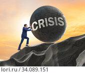 Купить «Business concept of crisis and recession», фото № 34089151, снято 9 июля 2020 г. (c) Elnur / Фотобанк Лори